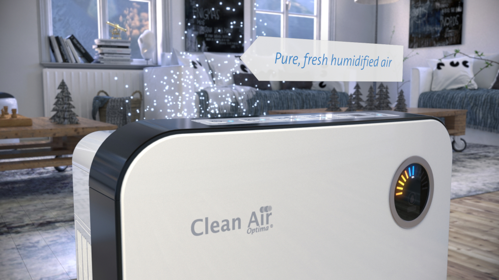 The new air washer by Clean Air Optima fulfills two functions. This highly effective air washing system humidifies dry indoor air and purifies it at the same time.