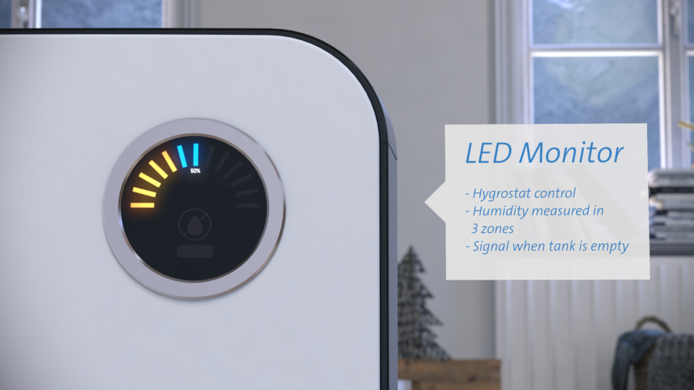 Thanks to the integrated hygrostat, humidity can be controlled at the push of a button for optimal indoor climate.
