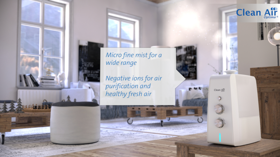 The ultrasonic air humidifier Clean Air Optima CA-602 with its cold diffusion system, its ionizer for air purification and its aroma diffuser