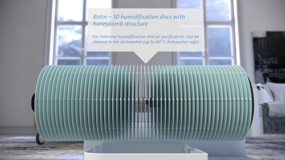 Air humidification through cold evaporation, water as natural filter for air purification, activated carbon prefilter & water filter