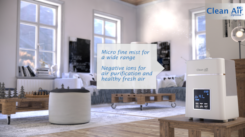The ionizer cleans the air, Ionization provides fresh air and enriches it with oxygen ions, Hygienic and chemical-free humidification